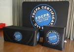 FDCPA Certifications 10ft Flat Tension Fabric Display, Podium, Tablecloth