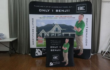 Primesource 8ft Mortgage Curved Tension Fabric Display, Podium
